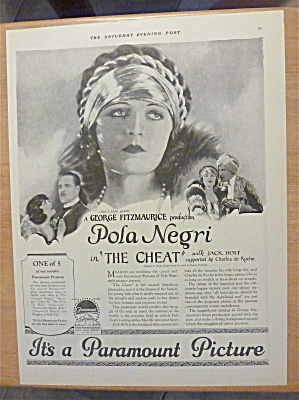 1923 The Cheat With Pola Negri