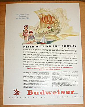 1940 Budweiser Beer With Boy Sailing Boat In Water