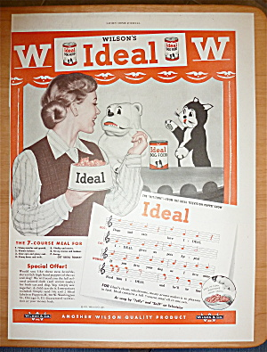 1951 Wilson's Ideal Dog Food W/woman & Dog & Cat Puppet