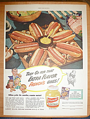 1949 French's Mustard With Plateful Of Hot Dogs