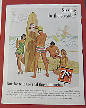 1962 7 Up (Seven Up) W/man Painting Surfboard