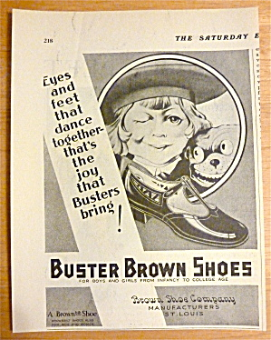 1929 Buster Brown Shoes With Buster Brown Winking