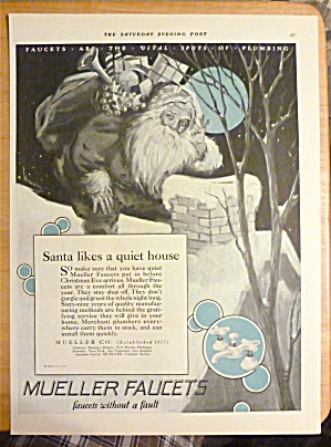 1926 Mueller Faucets With Santa By Chimney