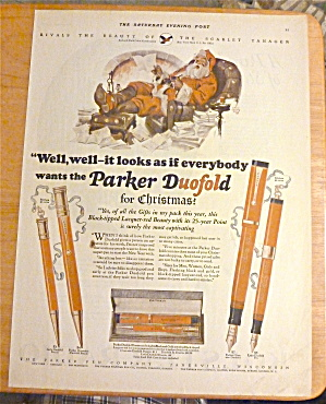 1925 Parker Duofold W/ Santa Sitting In Chair & Writing