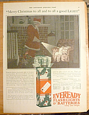 1925 Eveready Flashlight & Batteries W/santa Claus