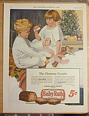1926 Baby Ruth Candy Bar W/children By A Christmas Tree