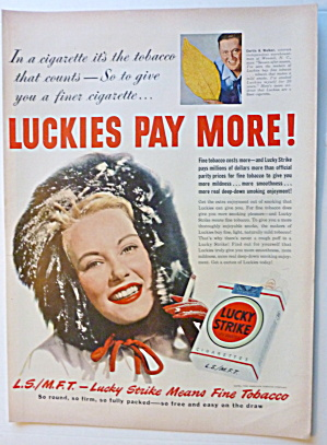 1950 Lucky Strike Cigarettes with Woman In Furry Cap (Image1)