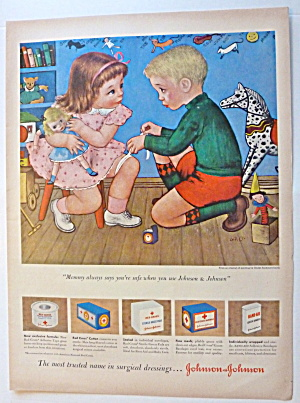 1950 Johnson & Johnson with Boy Bandaging A Girl (Image1)