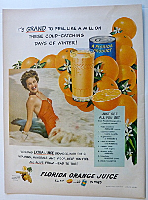 1950 Florida Orange Juice With Lovely Woman In Water