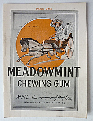 1912 Meadowmint Chewing Gum With Boy In Chariot
