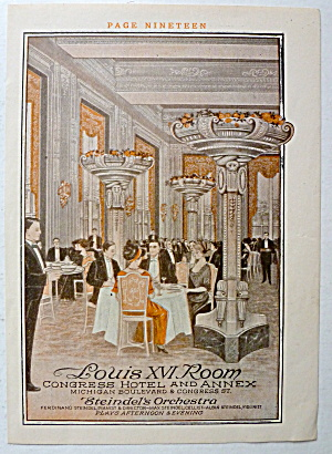 1912 Congress Hotel & Annex Chicago W/louis Xvi Room