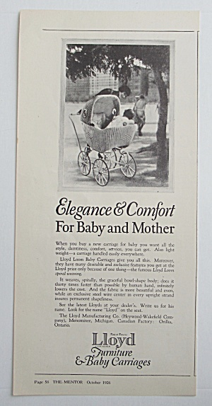 1926 Lloyd Furniture & Baby Carriages W/ Baby Stroller