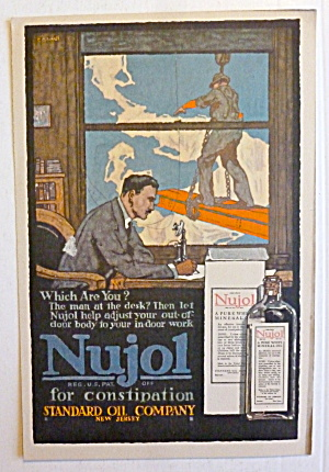 1917 Nujol For Constipation w/ Man Sitting At Table (Image1)
