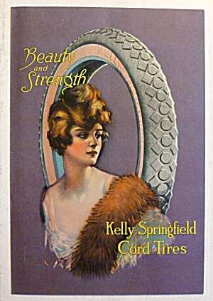 1919 Kelly Springfield Cord Tires With Lovely Woman