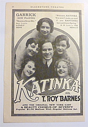 1917 Katinka Musical with A Beauty Chorus Of Seventy  (Image1)