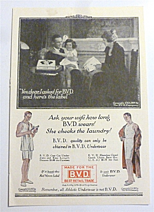 1919 B. V. D. Underwear With Family Sitting & Talking