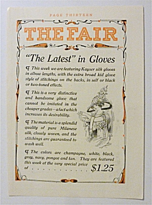 1912 Kayser Silk Gloves With A Woman Taking Off Gloves