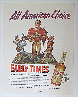 1953 Early Times Whiskey With Football Player