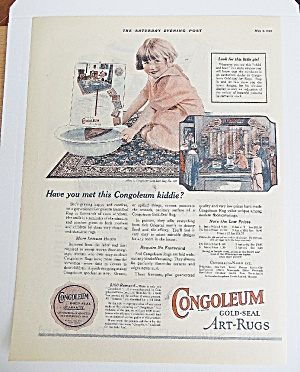 1925 Congoleum Art Rugs With Little Girl With Bucket (Image1)