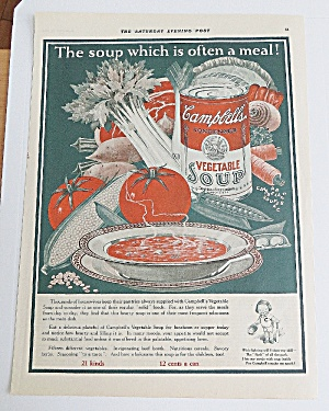 1925 Campbell's Vegetable Soup With Bowl Of Soup (Image1)