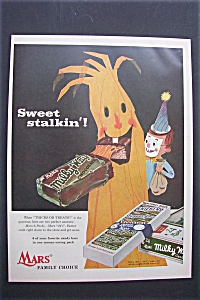 1955 Mars Milky Way Candy Bar W/boy In Mask By A Tree