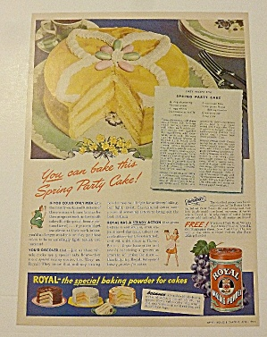 1942 Royal Baking Powder With Spring Party Cake