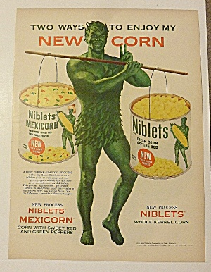 1954 Green Giant Corn With Green Giant Carrying 2 Cans