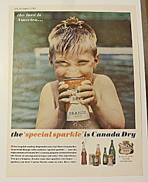 1962 Canada Dry With Boy Drinking Orange