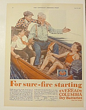 1928 Eveready Battery With Man Telling Story To Boys