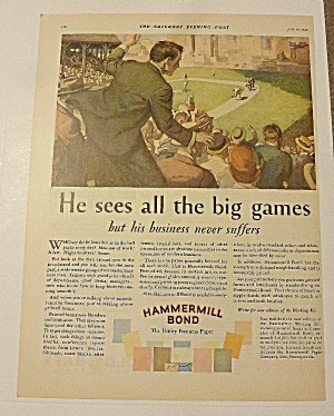 1928 Hammermill Bond With Man Cheering Ball Game