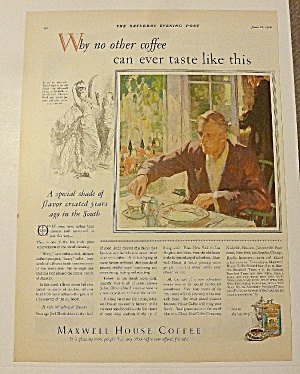 1928 Maxwell House Coffee With Man Having Breakfast
