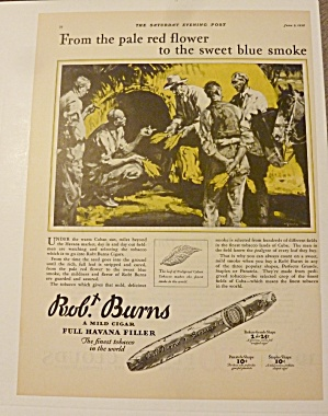 1928 Robt Burns Cigar With Men Looking At Tobacco