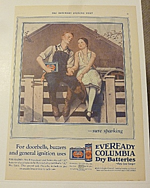 1928 Eveready Batteries With Boy & Girl Sitting