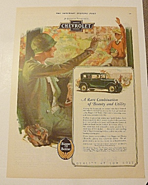 1928 Chevrolet With Woman Waving To Boy