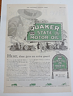 1929 Quaker State Oil With Quaker Man