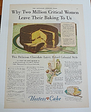 1929 Hostess Cake With Chocolate Layer Cake