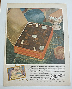 1929 Johnston's Chocolates With Box Of Candy