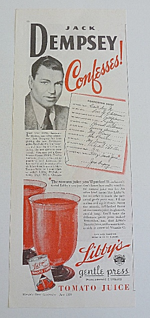 1938 Libby's Tomato Juice With Jack Dempsey (Image1)