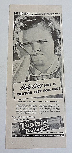 1942 Tootsie Rolls With Girl & Funny Face