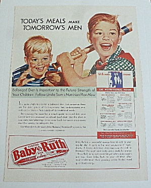 1943 Baby Ruth (Curtiss Candy) W/ Boys Playing Baseball