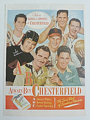1947 Chesterfield Cigarette W/ Riggs, Williams & Musial
