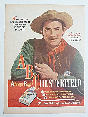 1947 Chesterfield Cigarettes With Gregory Peck