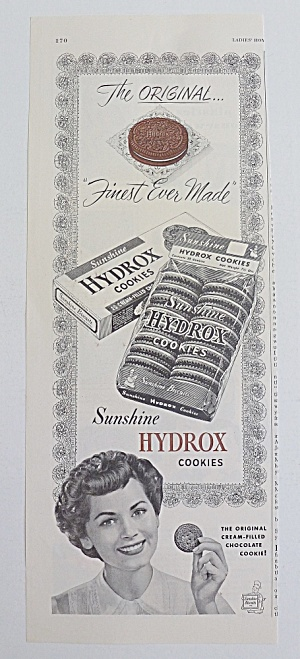 1950 Sunshine Hydrox Cookies With Woman Holding Cookie