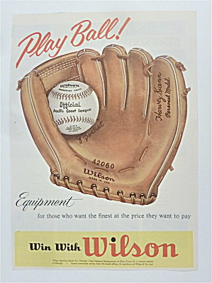 1957 Wilson Equipment With Baseball Glove & Ball