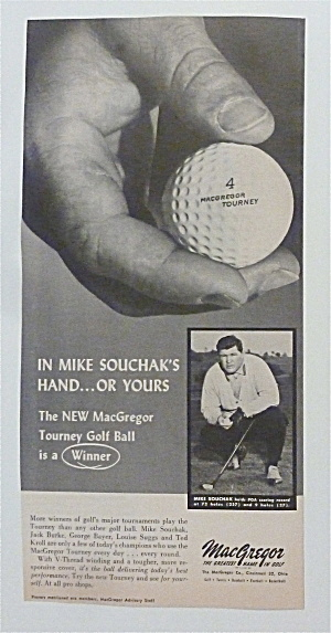 1957 MacGregor Tourney Golf Ball with Mike Souchak (Image1)