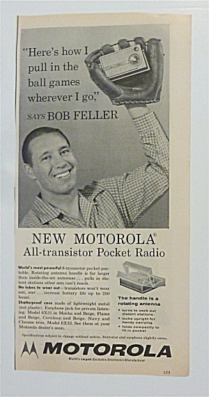 1957 Motorola Pocket Radio Ad With Bob Feller