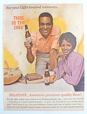 1963 Falstaff Beer With Man & Woman At Table