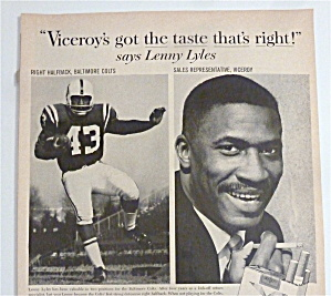 1963 Viceroy Cigarettes With Football's Lenny Lyles