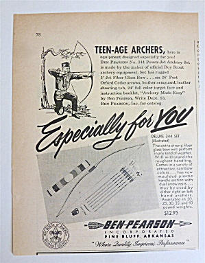 1959 Ben Pearson Archery Set With Boy Shooting