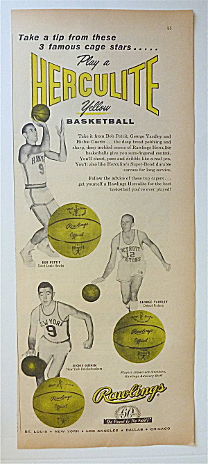 1958 Rawlings Herculite Yellow Basketball W/bob Pettit